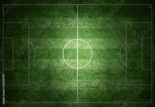 soccer field with white lines on grass, grunge paper