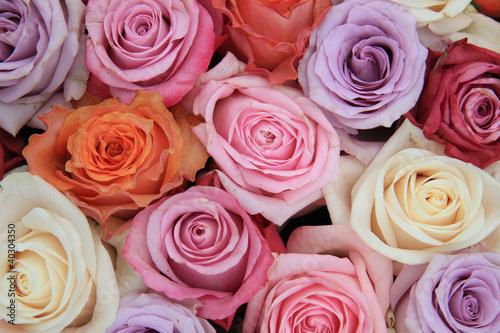 Fototapeta na wymiar Pastel rose wedding flowers