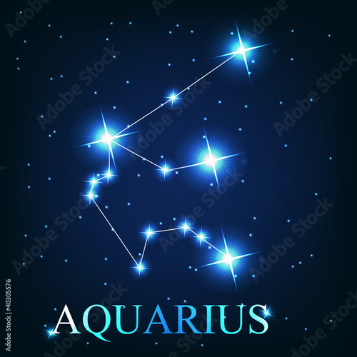 vector of the aquarius zodiac sign of the beautiful bright stars Wallpaper Mural