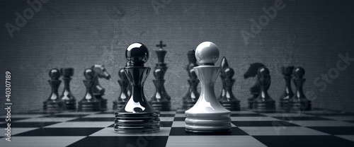 Fotografia Black vs wihte chess pawn background. high resolution