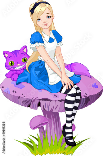 Door stickers Magic world Alice in Wonderland