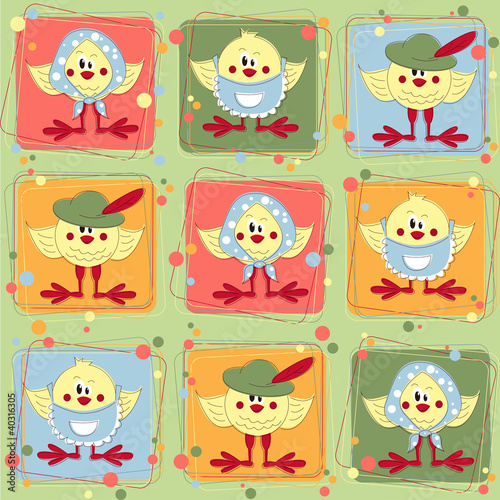 Easter seamless pattern with cartoon chicken
