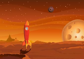 svemirski brod na marsovskom krajoliku