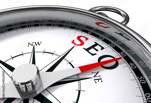 Acrylic Prints Red, black, white seo the way indicated by compass