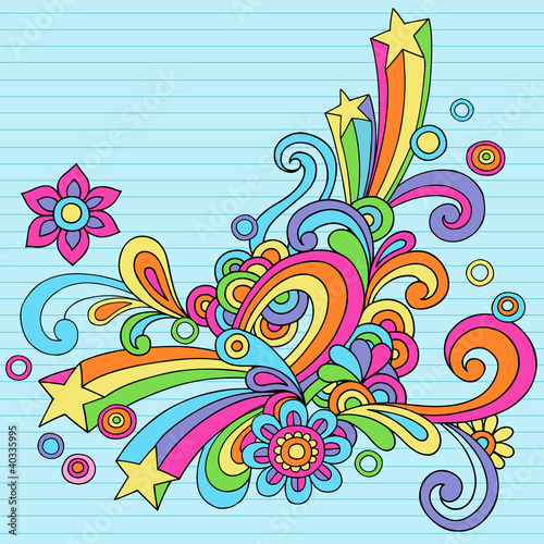 Photo  Flower Power Groovy Psychedelic Notebook Doodle Vector