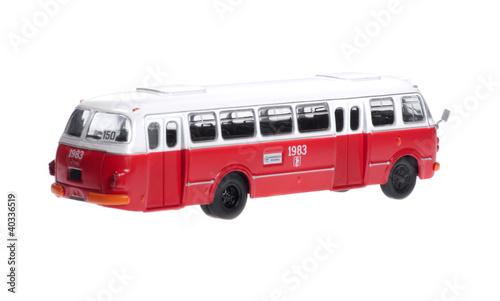 Türaufkleber London roten bus Old retro city bus on white background.