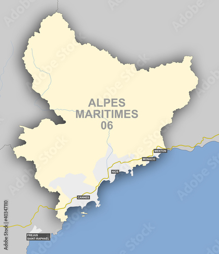 Photo  Carte et situation du département des Alpes Maritimes