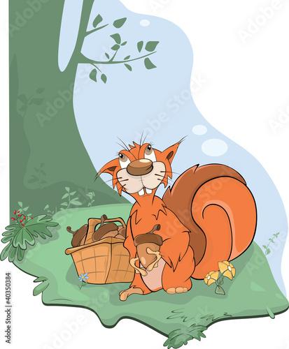 Naklejki dla dzieci  wiewiorka-i-zoledzie-kreskowka