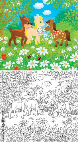 Tuinposter Doe het zelf Little Ponies and Fawn