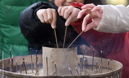Foto op Plexiglas Japan Burning incense, Nara, Japan