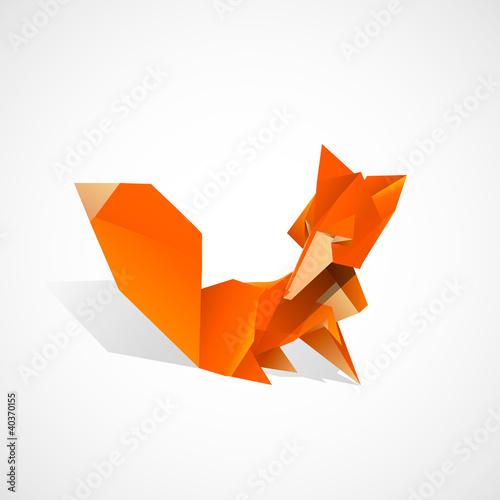 Poster Geometrische dieren Origami Fox