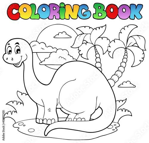 Spoed Foto op Canvas Doe het zelf Coloring book dinosaur scene 1