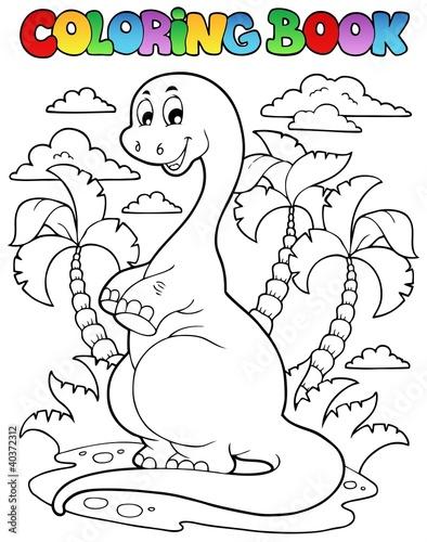 Spoed Foto op Canvas Doe het zelf Coloring book dinosaur scene 2