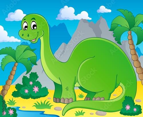 Tuinposter Dinosaurs Scene with dinosaur 1