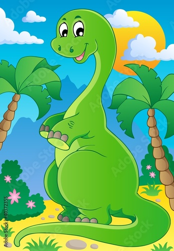 Tuinposter Dinosaurs Scene with dinosaur 2