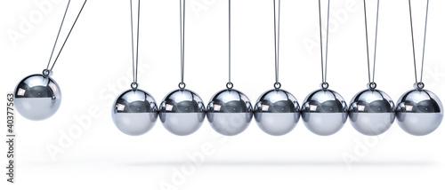 Fotografie, Obraz  Newtons cradle with eight balls - panorama