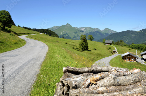 Fototapeta  Road in the Alps mountains near Morzine in France