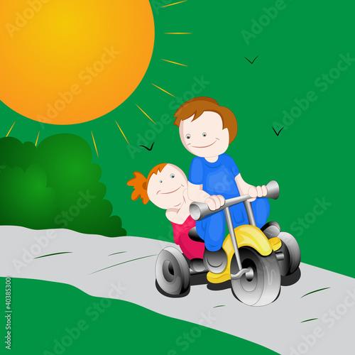 Poster Vogels, bijen Kids Riding Bike