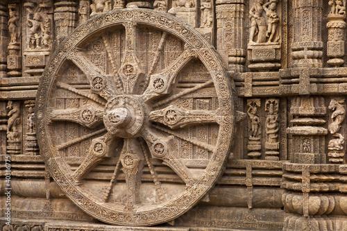 Chariot Wheel, Konark Sun Temple, Orissa Fototapet