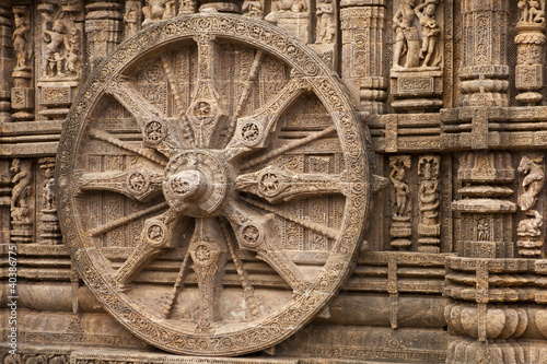 Chariot Wheel, Konark Sun Temple, Orissa Tablou Canvas