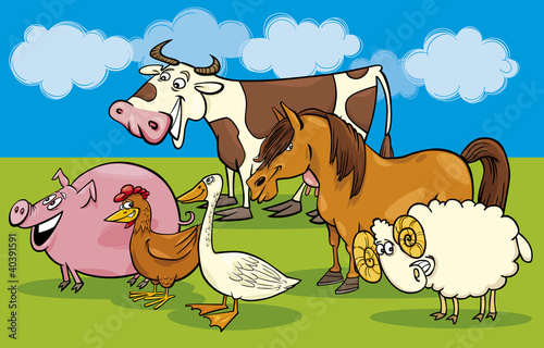 In de dag Boerderij Group of cartoon farm animals