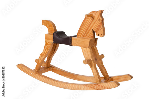 Fotografía  Wooden rocking horse chair children isolated on white background