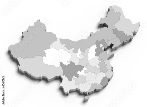 3d China grey map on white Wallpaper Mural