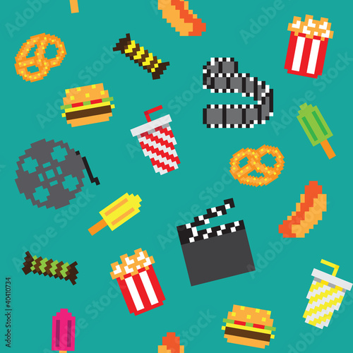 Door stickers Pixel Pixel movie icons seamless retro pixel pattern