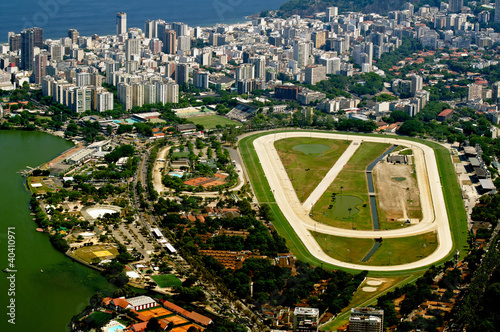 view of jockey club and Leblon in Rio de Janeiro Poster