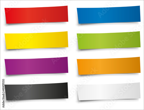 Fotografia  Cartouches Post-It de plusieurs couleurs pour noter des messages importants