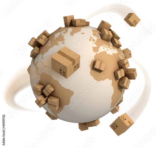 Fotomural cardboard boxes around the world - global shipment 3d concept