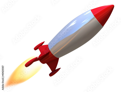 Photo  3d rocket isolated