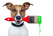 Dog As A Painter With A Brush And Color
