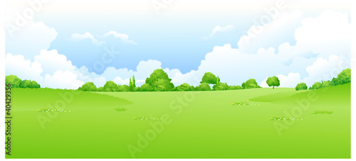 Deurstickers Wit Green landscape with blue sky