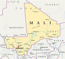 Mali Political Map With The Ca...