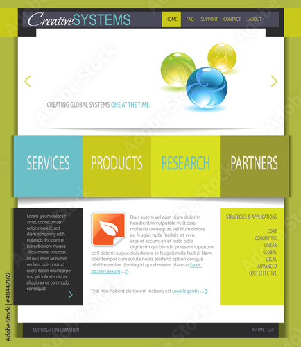 Fresh White and Green Business Web Site Template - Buy this stock
