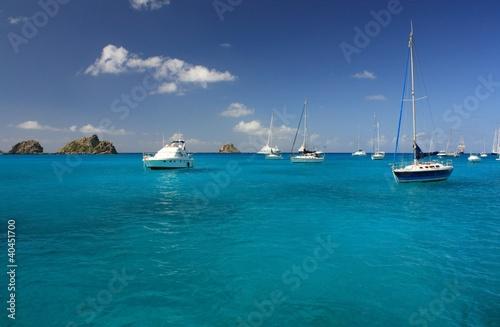 Foto op Plexiglas Caraïben Clear water, caribbean island, yachts and boats
