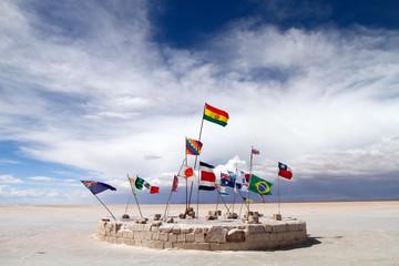 Flags at the Salar de Uyuni, Bolivia