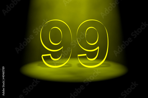 Photographie  Number 99 illuminated with yellow light