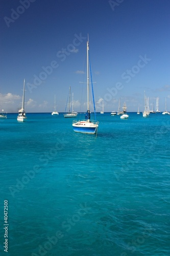 Foto op Plexiglas Caraïben Clear water, caribbean island, yachts and boats