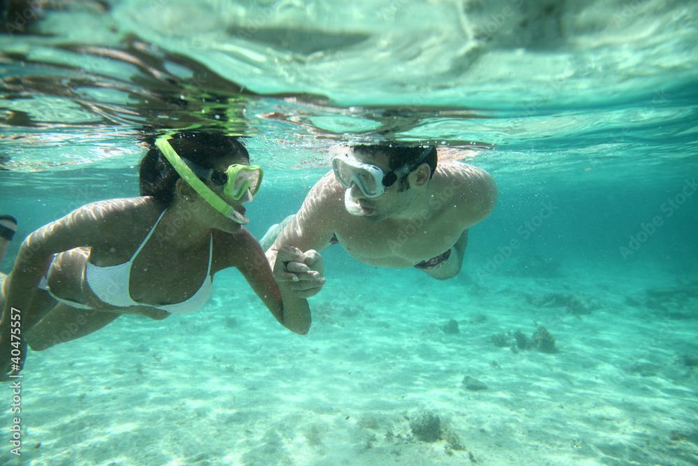 Fototapeta Couple snorkeling in Caribbean waters