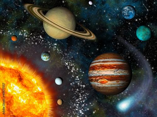 obraz dibond Solar System 3D
