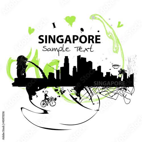 Photo  Kunstwerke Skyline von Singapore