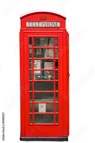 British Red Phone Booth isolated on white Poster
