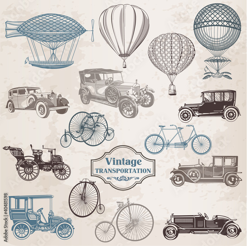 Vector Set: Vintage Transportation - collection of old-fashioned