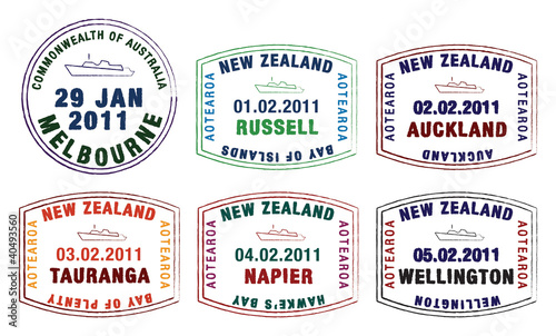 Vector Stylised Passport Stamps From Australia And New Zealand