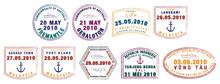 Asian Passport Stamps In Vector Format.