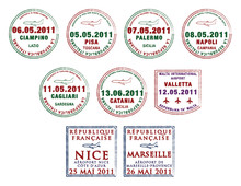 Passport Stamps From Italy, Malta And France.