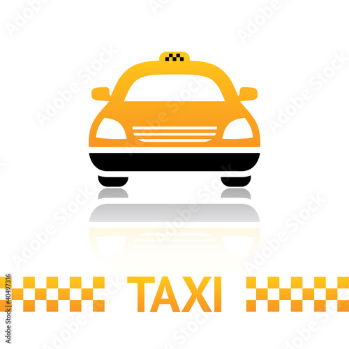 Taxi cab symbol on white background Canvas Print