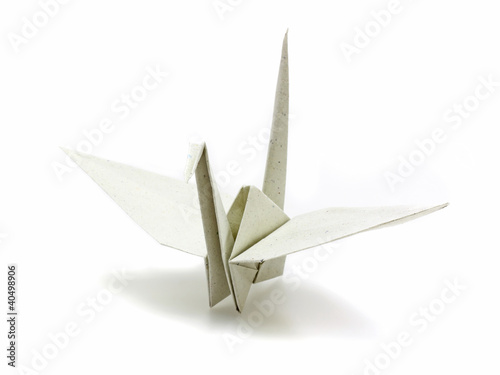 Origami paper crane made of recycle paper